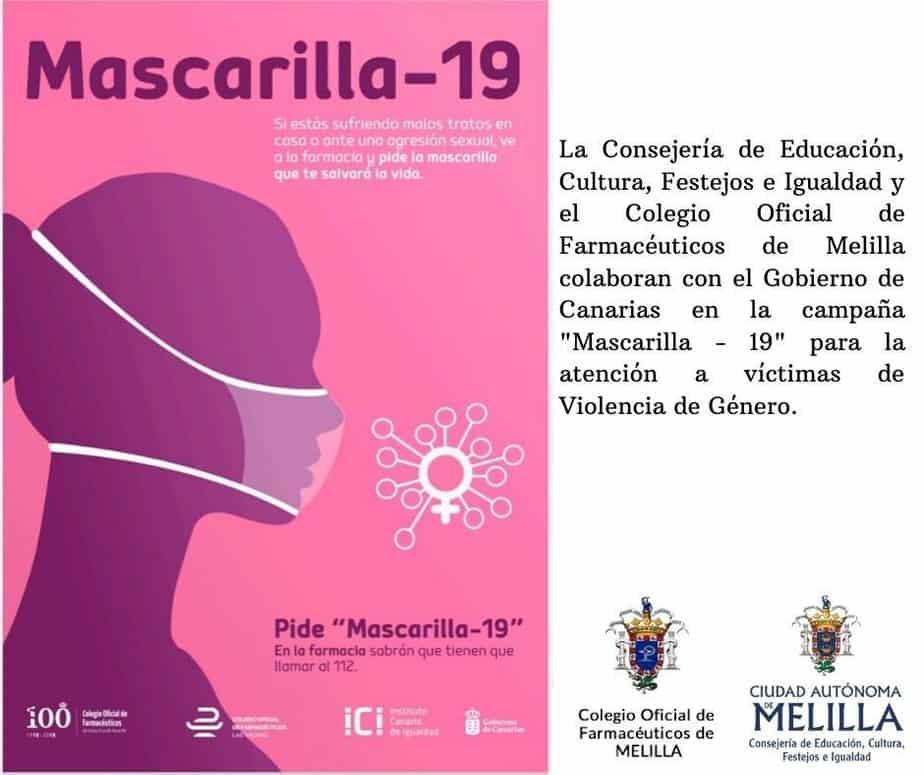 Melilla se suma a la iniciativa contra la violencia de género, Mascarilla 19